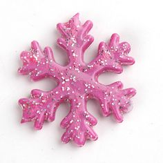 4 Pink w/Silver Glitter Snowflake Chunky Bead-20mm Bubblegum Beads-Chunky Necklace-Chunky Beads-Bubblegum Necklace-Beads-Frozen Inspired