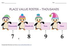 These decimal place value charts render the practice on place value up to millionths. Colorful posters, blank charts and practice sheets are included. Place Value Poster, Place Value Chart, Place Value Worksheets, Printable Math Worksheets, Write In Standard Form, Place Value With Decimals, Tens And Ones, One 7