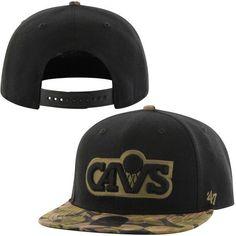 Mens Cleveland Cavaliers  47 Brand Black Gold Hardwood Classics Tropas  Snapback Hat f90cc58f213