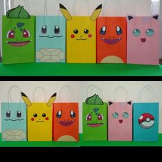 Printable Pokemon Party Favor Bags/ Pokemon Birthday Party Ideas/ Party Decoration/ Party favors. Pokemon Faces Printable templates available @ my Etsy Shop! Simply: Print, Cut & Glue onto colored treat bags! Printing is unlimited! Pokemon/ Pikachu/ Pokeball Party Favor/ loot/ candy/ goody/ goodie/ treat/ gift bag/ bags/ box/ boxes/ party ideas/ supplies/ cake/ cupcake toppers/ balloons/ pinata/ bottle labels/ stickers/ bolo/ pastel/ invite/ invitation/ banner/ lembrancinhas/ decoração festa