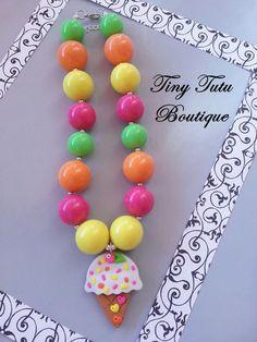 ICE CREAM Chunky Necklace- Chunky bubblegum necklace, Girls chunky necklace, Gumball necklace, Chunky beaded necklace via Etsy
