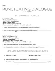 Punctuating Dialogue with Jokes This lesson (and packet) introduces and teaches how to punctuate dialogue in a fun way! Punctuating Dialogue, 6th Grade English, School Info, Middle School Writing, Language And Literature, Science, Classroom Inspiration, Sixth Grade, Punctuation