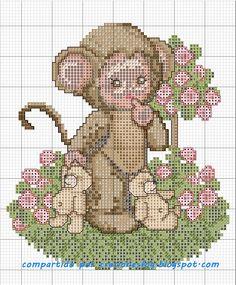 creaciones FOG: col bebés punto de cruz (patrón): mono