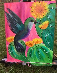 Hummingbird Painting - Step By Step Tutorial - For Beginners - Hummingbird Painting – Step By Step Tutorial – For Beginners How To Paint A Hummingbird – Step By Step Painting Hummingbird Painting, Cactus Painting, Summer Painting, Cow Painting, Cactus Art, Gouache Painting, Painting Wallpaper, Painting Tips, Cactus Plants