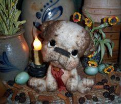 "Primitive Dog 6"" Doll Vtg Patti's Ratties English Bulldog Artist Bear Red Cross"