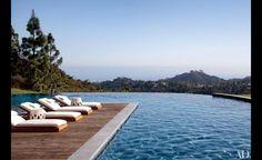La piscine infinie de la mannequin Gisèle Bundchen et de son mari Tom Brady à Los Angeles.