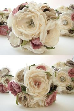 "Fabric flowers bouquet- like the green ""leaves"" - (smb: this idea inspires me to make a bracelet cuff with flowers. Cloth Flowers, Lace Flowers, Felt Flowers, Fabric Flowers, Fabric Bouquet, Diy Bouquet, Bouquet Wedding, Wedding Flowers, Material Flowers"