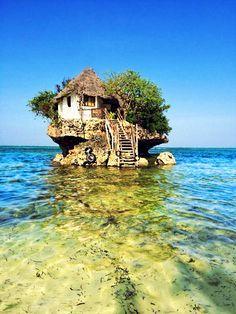 """The Rock"" Restaurant, Michanwi Pingwe beach, Zanzibar, Tanzania"