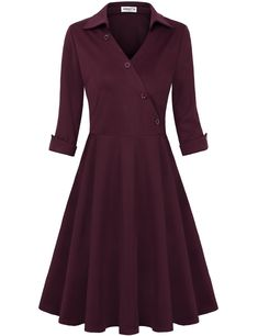 online shopping for HNNATTA Women's Retro Collar V Neck Half Sleeve Vintage Work Office Dress Cocktail Swing Dresses from top store. See new offer for HNNATTA Women's Retro Collar V Neck Half Sleeve Vintage Work Office Dress Cocktail Swing Dresses Elegant Homecoming Dresses, Formal Dresses For Women, Casual Dresses, Fashion Dresses, Ladies Dresses, Tunic Dresses, Women's Fashion, Sleeve Dresses, Fashion Stores