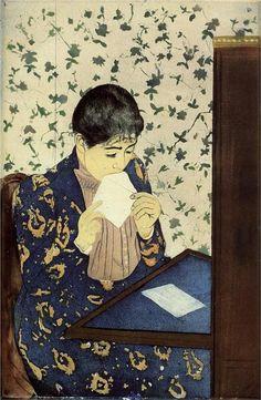 Mary Cassatt - WikiPaintings.org The Letter 1890-91 Flat image based on Japanese prints