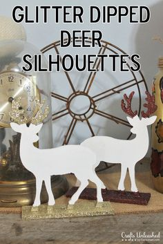 Sometimes the simplest crafts really are the best.  I'm LOVING these White Deer Silhouettes with Glitter Antlers from Crafts Unleashed.  Cute for a holiday mantle!
