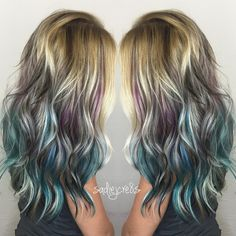 Blonde Hair With Purple, Blue & Black Highlights