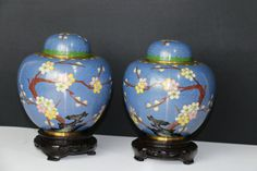 Vintage Chinese Cloisonne Ginger Jars Pair Cloisonne Jars | eBay