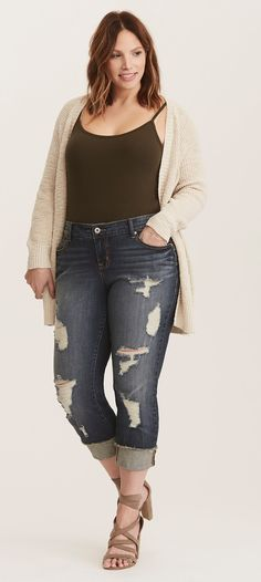 Plus Size Cropped Boyfriend Jeans