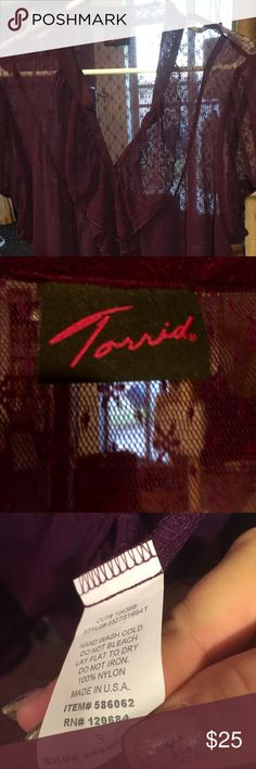 Torrid size 3 lacy sheer plum top. Beautiful Beautiful. Never worn. Never washed torrid Tops Tunics