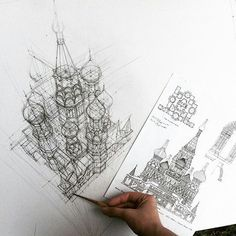 Check out this #handdrawn #3D #architecture #sketch by @li.adeli of what looks to be the #Kremlin in #Moscow #Russia. I've always found an #axonometric #drawing like this to be really amazing. This one is especially awesome because I cannot imagine being able to #draw something like this by hand. I know #architects have been doing this for a very long time before computers but the amount of detail and accuracy necessary for something like this is mind blowing.  Really excellent work…