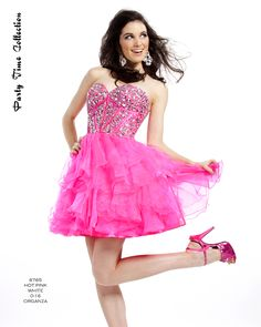 Ultimate Fashions carries Party Time Formals.#6765 Hot Pink size 6