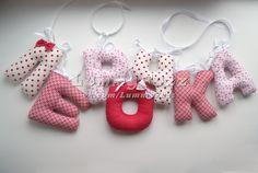 Гирлянда из подушечек-букв высотой 14см. Цена 150р. за одну букву. ### Буквы-подушки, мягкие буквы, подарок, подарок малышу, что подарить