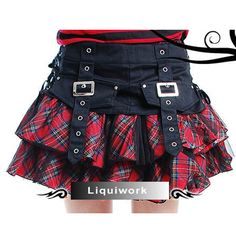 Cute Red Plaid Gothic Lolita Punk Corset Micro Mini Skirts Clothes