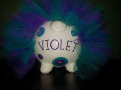 GIRLS Jumbo Personalized Piggy Bank w/TUTU GEMS by ByJusteenCrafts, $30.00