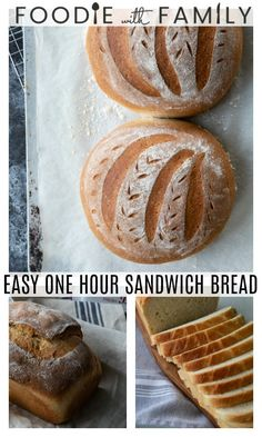 A Sandwich bread recipe in one hour? And not only is it done in one hour, it's amazing! This easy bread recipe will become your go to! Tasty Bread Recipe, Sandwich Bread Recipes, Healthy Bread Recipes, Mexican Food Recipes, Pie Recipes, Rustic Italian Bread, Loaf Pan, Easy Bread, Fresh Bread