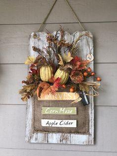 The Best Fall Crafts - Outdoor Click Pumpkin Floral Arrangements, Fall Arrangements, Pumpkin Decorating, Porch Decorating, Wall Hanging Arrangements, Apple Cider, Burlap Pumpkins, Painted Pumpkins, Handmade Wall Hanging