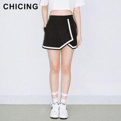 35e58b06ef Online Shop CHICING Fashion 2015 Summer Black White Asymmetric Hems Split  A-Line Mini School
