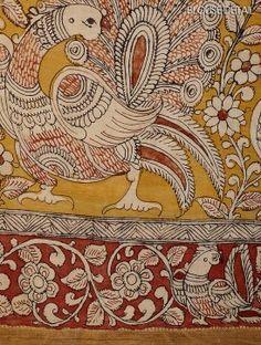 Mustard-Red Hand-Painted Kalamkari Cotton Saree with Zari Border