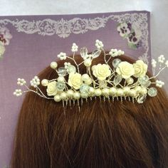 Cream roses Hair Piece. Silver coloured Comb includes Resin flowers, pearls, crystals and crackle beads. Great Wedding hair comb or for prom by Eloquencebridal on Etsy