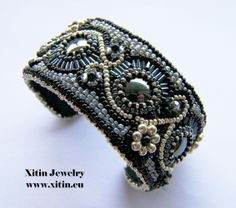Bead embroidery cuff