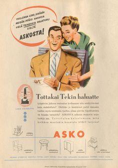 Tottakai tekin haluatte - Askon vanha lehtimainos vuodelta 1948