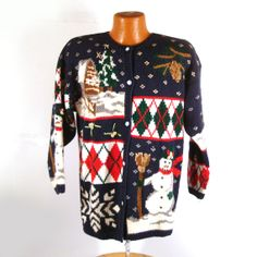 Ugly Christmas Melange  Sweater Vintage Cardigan holiday Tacky by purevintageclothing