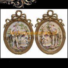 Barok schilderij goud verguld afbeelding  porseleinen beeldjes Marie Antoinette