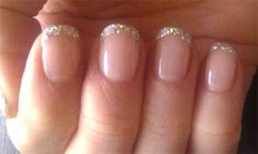 shellac manicure | Shellac nails French glitter tip