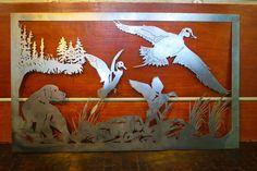 "45"" Detailed Dog Hunting Scene Ducks Metal Wall Art Home Decor Decoy Dynasty"
