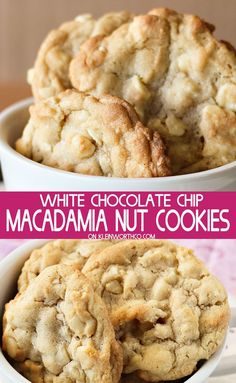 Easy to make White Chocolate Macadamia Nut Cookies that are so soft, chewy and p. Easy to make White Chocolate Macadamia Nut Cookies that are so soft, chewy and positively delicious. Great as neighbor gifts or served at any holiday party. Macadamia Nut Cookies, Chocolate Macadamia Nuts, White Chocolate Chips, Macadamia Nut Recipes, White Chocolate Brownies, White Chocolate Recipes, Chocolate Chocolate, Cookie Recipes, Dessert Recipes