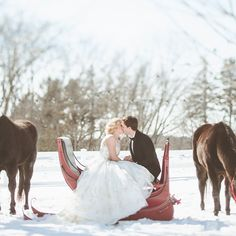 "Brides.com: . For their getaway ""car"" this couple chose a horse-drawn sleigh, which ended up being a perfect place to a take a few romantic snowy photos before the reception."