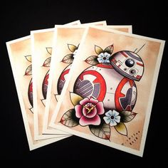 BB-8 Star Wars Tattoo Flash Print by by missmichellecoffee on Etsy
