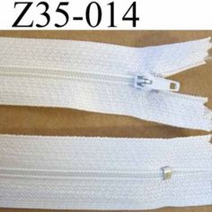 GRAND CHOIX - fermeture zip à glissière longueur 35 cm couleur blanc non séparable zip nylon largeur 2.5 cm