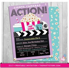 Movie Party Invitations  Printable Girls Movie by thepartystork