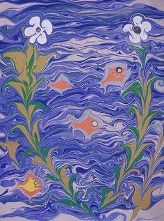 Flowers, modern, Peggy Skycraft Ebru Art, House By The Sea, Bookbinding, Ephemera, Blues, Marble, Paper, Colors, Illustration