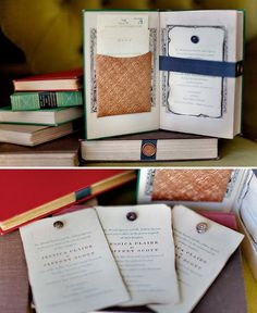 Vintage books as wedding invitations....or any invitation for that matter....courtesy of Green Wedding Shoes...blog entry September 8, 2009
