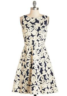 Swirl into the Soiree Dress. Youre sure to make a sweet first impression when you enter the ballroom in this navy A-line party dress!  #modcloth