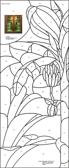 Stained Glass Pattern - Banana Tree
