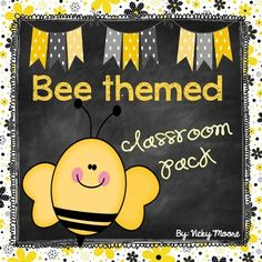 This cute 53 page bee themed classroom dcor pack is perfect for you if you are looking for a bee themed classroom or a yellow/gray/black and white color scheme.  Included are:*cover/credit page*bunting direction page*welcome bunting*'bee'havior bunting*word wall headers*bee havior chart to use with clothespins/clips*BEE binder cover/insert*table signs ( 2 of each ) hang from a cute paper pom pom *nameplatesHappy teaching and enjoy this pack!