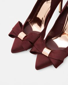 Statement bow court shoes - Oxblood | Footwear | Ted Baker UK
