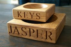 Personalised Engraved Wooden Key or Loose Change Bowl | www.giftwrappedandgorgeous.com