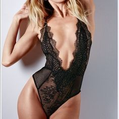 United edition Victoria's Secret black fishnet Black fishnet and lace body suit limited edition Victoria's Secret Intimates & Sleepwear