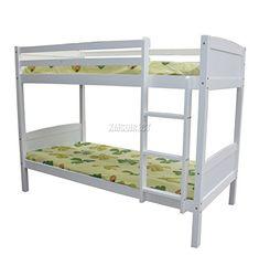 FoxHunter 3FT Bunk Bed Wooden Frame Children Sleeper No Mattress Single White Furniture New – Prima Furniture