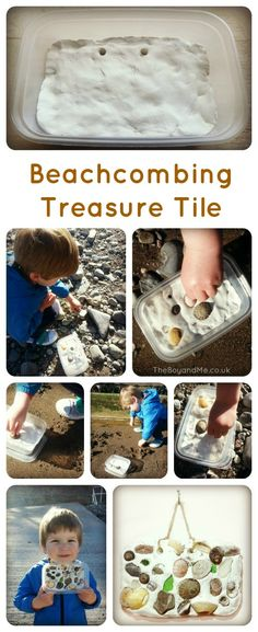 Beachcombing Treasure Tile ... This would be a great idea for Shelbi, one of my grand-daughters who hates to get rid of anything... she could put all her little treasures in something like this and then hang them up to admire.